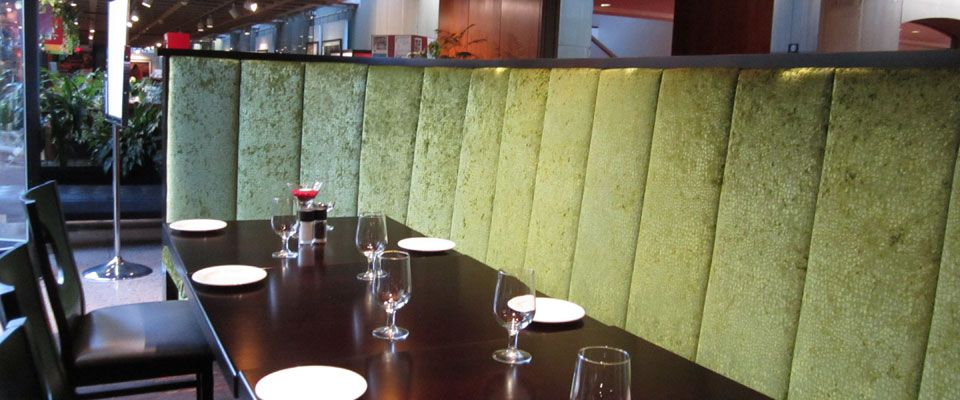 upholstered booths in restaurant